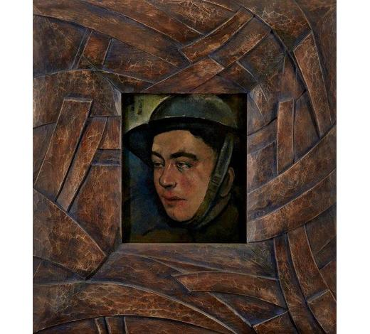 RoseberysBritish School,early 20th century-Portrait of a World War I soldier; oil on canvas, 30.6x25.7cm (ARR) Note: During the First World War, official government-sponsored schemes were established for artists to record the war.