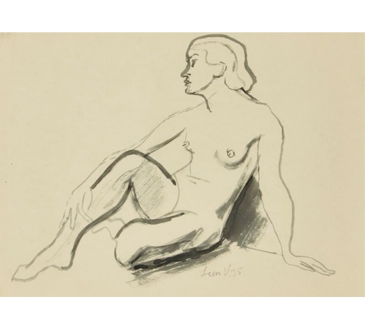 RoseberysLeon Underwood, British 1890-1975-  Seated female nude with a hand in her leg, 1935;  watercolour, signed and dated, 36x48.5cm (ARR)  Provenance: the artist's estate; thence by descent