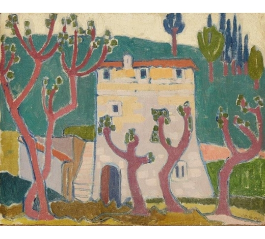 RoseberysJessica Dismorr, British 1885-1939-  House and trees;  oil on canvas laid down on canvas, signed, 33x41.2cm (unframed)