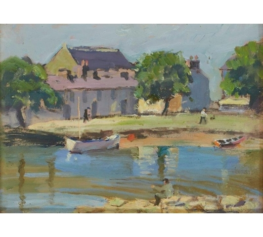 RoseberysGladys Vasey ARCA SWA,  British 1889-1981-   Aberaeron Harbour, c. 1972;  oil on card, 16x21cm (ARR)  Literature: Aberystwyth, The National Library of Wales, 'Gladys Vasey: A Retrospective', 1991, listed in the second appendix on the last page of the catalogue  Provenance: purchased from the artist's studio in Aberaeron c. 1970s by John Penny Jones; given by Mr Jones to Mr John Davies; thence by descent.