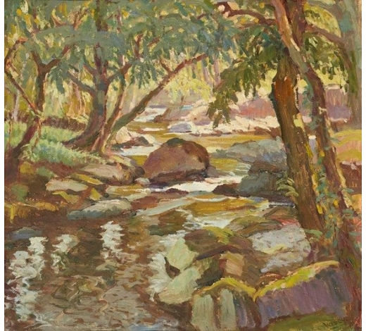 RoseberysGladys Vasey ARCA SWA, British 1889-1981-  The Stream at Beddgelert, c. 1950;   oil on board, signed, 44.4x45.7cm (ARR)  Provenance: purchased from the exhibition 'Portraits and Other Paintings by Gladys Vasey' at the National Library of Wales, Aberystwyth, 1973  Exhibited: 'Portraits and Other Paintings by Gladys Vasey', National Library of Wales, Aberystwyth, 1973, cat. no. 23; 'Gladys Vasey: A Retrospective Exhibition', National Library of Wales, Aberystwyth, 1991, cat. no. 96