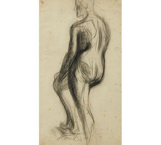 RoseberysLeon Underwood,  British 1890-1975-  Standing male nude with right leg on step, 1932;  conte on paper, signed and dated, 54x37.6cm (ARR)  Provenance: the artist's estate; thence by descent