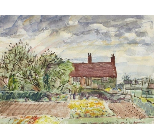 RoseberysLeon Underwood,  British 1890-1975-  Manor House, Hanbury, 1942;  watercolour and ink, signed and dated, bears inscription to the reverse, 27.5x38.5cm (mounted/unframed)(ARR)  Provenance: the artist's estate; thence by descent