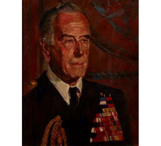 RoseberysBritish School,  mid 20th century-  Portrait of Louis Mountbatten, 1st Earl Mountbatten of Burma;  oil on canvas, 56x46cm: together with a copy of the biography of Lord Mountbatten by Philip Ziegler (2)
