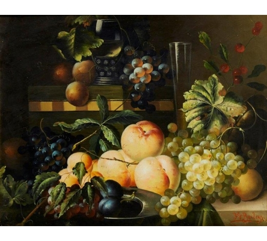 RoseberysFrederick Victor Bailey,  British 1919-1997-  Still life of fruit, 1955;   oil on canvas, signed and dated, 41 x 51cm (ARR)