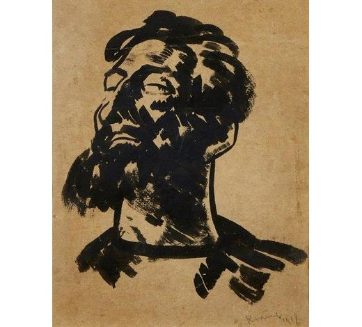 RoseberysJacob Kramer,  Ukrainian/British 1892-1962-  Head of a bearded man, 1918;  brush and black ink on brown paper, signed and dated in pencil, 29.5x23cm (ARR)