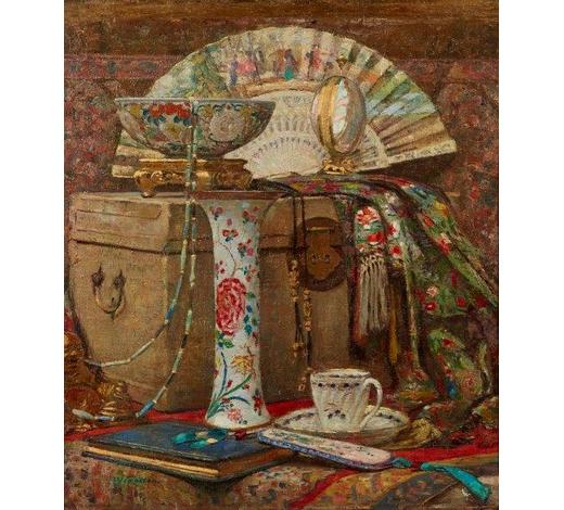RoseberysWilliam Robson,  Scottish 1868-1952-   No 1 A Study/Oriental Still Life;  oil on canvas, signed, 67x58cm (ARR)  Provenance: with Falle Fine Art Limited, Jersey, according to card accompanying this lot