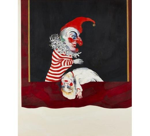 RoseberysMaggi Hambling CBE, British b. 1945-  Punch and Judy, 1975;  oil on canvas, signed, inscribed and dated on the reverse, 106x91cm (ARR)