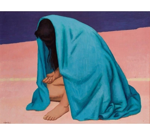RoseberysClifford Hall RBA ROI, British 1904-1973-  Crouching Girl;  acrylic varnished with wax on board, signed, inscribed to the reverse, 71x92cm (ARR)  Provenance: Woolley & Wallis, 13 June 2012, lot 422