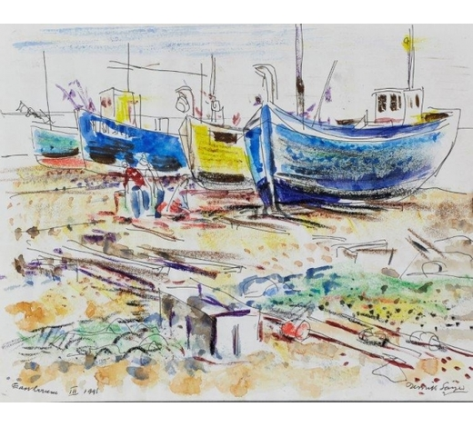 RoseberysDerrick Latimer Sayer, British 1917-1992-  Eastbourne, 1991;  mixed media on paper, signed, titled and dated in black ink, 25 x 20cm: together with twenty-five further mixed media studies of boats and abstract subjects by the same artist, variously signed and dated, max 21x29.5cm, (26) (unframed) (ARR)