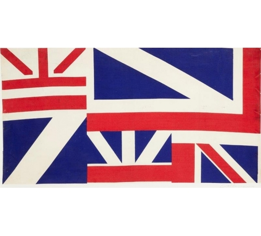 RoseberysGeoffrey Raymond Reeve ARCA,  British b.1936-   Single fabric repeat in Union Jack pattern, 1960;  cotton fabric on backboard, signed on backboard, 47x91cm (ARR)  Note: this is a single printed repeat of a cotton fabric produced in 1960 and shown at the graduation diploma show at the Royal College of Art in 1961. The full length of the design features in the catalogue for 'The 60s Art Scene in London' Barbican Art Gallery, 1993. The artist has kindly confirmed the authenticity of this work.