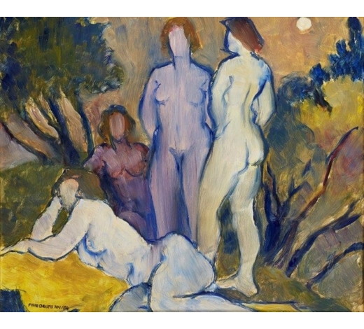 RoseberysFyffe Christie, British 1918-1979-  Four Figures in Sun Landscape, 1974;  oil on board, signed and dated, 49.5x59cm (ARR)  Literature: illustrated on p. 26 of 'Nature and Humanity: The Work of Fyffe Christie', 2004. A copy of this publication accompanies this lot.  Note: Born in Hertfordshire, Christie moved to Glasgow aged 12. He took up an apprenticeship as a lithographic draughtsman before serving in the Scottish Rifles during WWII. After the war, Christie returned to Glasgow to study mural