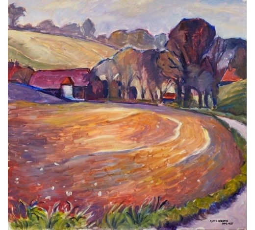 RoseberysFyffe Christie, British 1918-1979-  Farm and Fields in Spring, 1977;  oil on canvas, signed and dated, 57x59.5cm (ARR)  Note: this lot is accompanied by a copy of the monograph 'Nature and Humanity: The Work of Fyffe Christie 1918-1979'