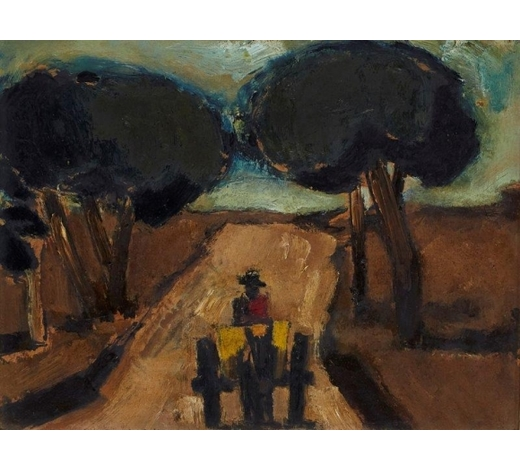 RoseberysAMENDMENT: please note the medium of this work is oil on paper laid on board.  Josef Herman OBE RA,  Polish/British 1911-2000-   The Donkey Cart;  oil on board, 21x26cm (ARR)  Provenance: with Roland, Browse, and Delbanco, according to the label attached to the reverse  Note: Agi Katz has kindly confirmed the authenticity of the work