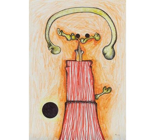 RoseberysDesmond Morris, British b. 1928-  Rebel Figure (recto), with a small ink sketch (verso);  ink and watercolour on paper, signed with initials and dated 85, 28x20.5cm (unframed)(ARR)  Provenance: acquired directly from the artist by the present owner  Literature: Silvano Levy, 'Desmond Morris: Analytical Catalogue Raisonn?1944-2000' (Petraco-Pandora, Antwerp) p. 312, ill., cat. no. 1985/7