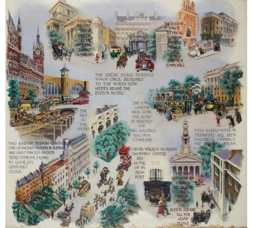 RoseberysCecil Osborne, British 1909-1996-  St Pancras & Kings Cross; Camden, Highgate & Hampstead; and Bloomsbury & Fitzrovia, 1964;  oil on canvas, three, each signed and dated, 162x172cm, 164x178cm and 166x176cm respectively (3) (ARR)  Provenance: St Pancras Borough Council   Note: Cecil Osborne, who exhibited with the East London Group, created this triptych of panels as murals to decorate the small Assembly Room of St Pancras Town Hall, now Camden Town Hall, on Euston Road. The three works were com