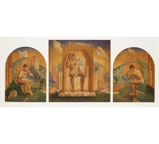 RoseberysJohn Armstrong ARA,  British 1893-1973-   Pan, triptych, c.1925;    watercolour on paper laid on three panels, signed on the central panel, 46.5 x 46.5cm max, (3) (in shared mount) (ARR)   Provenance: Estate of Mary Spencer Watson; Christie's, South Kensington, 17 Nov 2010, lot 74 Note: The work was originally created to decorate an overmantel in Dunshay Manor, and was possibly painted on site.