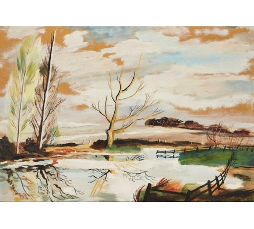 RoseberysRowland Suddaby,  British 1912-1972-   ?Winter landscape with pond;    gouache on board, signed, 51 x 72cm (ARR)  ?Provenance: J Leger & Son, Old Bond Street, Sept 1958; with Austin Desmond Fine Art, according to labels attached to the reverse
