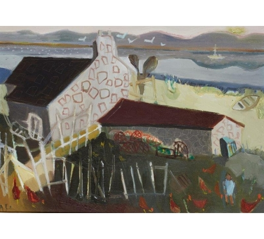 RoseberysAnthea Craigmyle, British 1923-2016-  Airor with Chickens;   oil on canvas, signed with initials, 30.5x40cm (ARR)  Provenance: purchased from the New Grafton Gallery, London, according to the label attached to the reverse