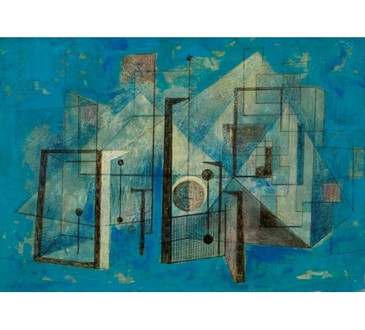 RoseberysClarke Hutton, British 1898-1984-  Untitled abstract (turquoise), 1983;  mixed media on panel in artist抯 frame, signed and dated to the reverse of the frame, 13.5x19cm (ARR)  Provenance: the Estate of the Artist  Note: Clarke Hutton began his career in the art world working as a scene painter and assistant to Carl Wilhelm at the Empire Leicester Square. Following an extended trip to Europe in the late 1920s, he enrolled as a mature student at the Central School of Arts and Crafts under the tute