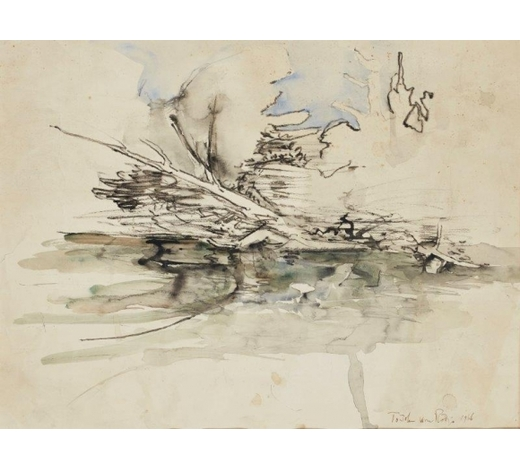 RoseberysRodrigo Moynihan RA, British 1910-1990-  River landscape, c.1966;  ink, charcoal and watercolour on paper, inscribed, 35.5x48.5cm (unframed/mounted)(ARR)  Provenance: purchased from Modern British Gallery by the present owner  Note: this lot is accompanied by a copy of the catalogue for the artist's 1978 retrospective exhibition at the Royal Academy of Arts, London