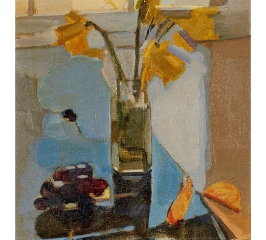 RoseberysCherry Pickles,  British b.1950-   Daffodils;   oil on canvas, 30.5x30.5cm (ARR)  Exhibited: Royal Academy Summer Exhibition, 1986, according to the label attached to the reverse
