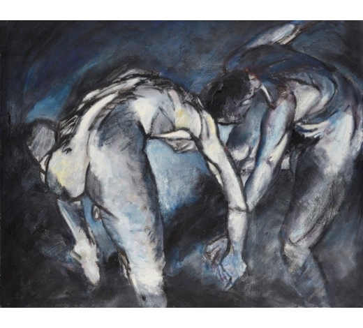 RoseberysMireille Spademan,  French/British, late 20th/early 21st century-   Two male figures, 1987;  oil on canvas, signed and dated on the reverse, 117 x 147cm, (unframed) (ARR)   Provenance: purchased directly from the studio of the artist
