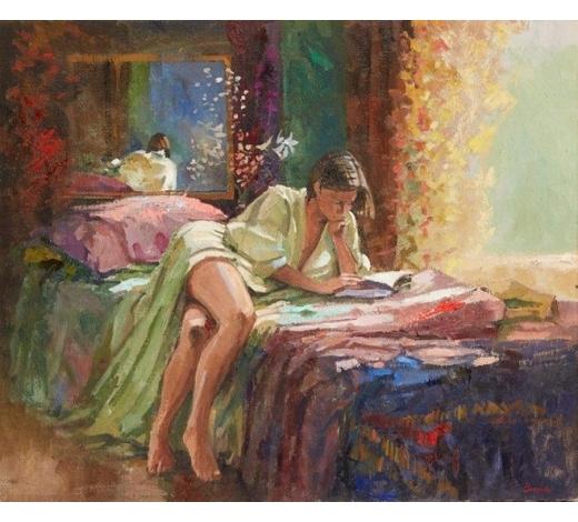 RoseberysBob Brown NEAC, British b.1936  Woman reading;  oil on canvas, signed, 51x61cm (ARR)