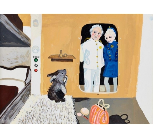 RoseberysJanina Ede,  British 1937-2018-   Mary Plain Goes to America, 1972;    gouache on card, three, each 39 x 54cm, (unframed) (3) (ARR)   Notes: These illustrations were made to accompany the programme Jackanory on BBC 1 in 1972.  A photocopy of the script for this episode is included with this lot.