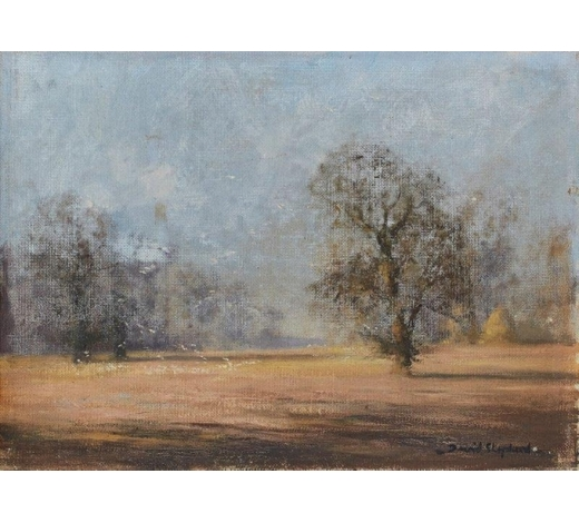 RoseberysDavid Shepherd CBE FRSA, British 1931-2017-  Landscape with trees;  oil on canvas, signed, 20.5x28cm (unframed) (ARR)  Note: this work is accompanied by the artist's business card from the 1950s, inscribed verso 'paid ?, Embankment, 1958'