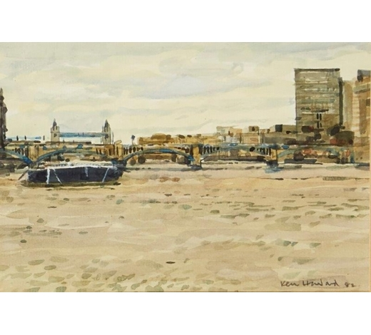 RoseberysKen Howard OBE RA, British b.1932-   Blackfriars Bridge from Southwark, 1982;   watercolour on laid, signed and dated, 13.5 x 20cm (ARR)   Provenance: commissioned by the present owner and exhibited at The Pennybank Gallery, St. John's Square, London in the show 'Artist's View of the City' from the 6-10 December 1982.