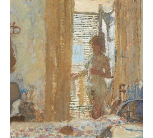 RoseberysBernard Dunstan RA, British 1920-2017-  The Shuttered Room, 1976;  oil on board, signed with initials, titled and dated to the reverse, 33x31.7cm (ARR)