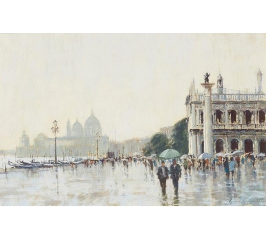 RoseberysJames Longueville PS RBSA, British b. 1943-  Rainy Day, Venice;  pastel on paper, signed, 39x59.5cm (ARR)  Provenance: with Sarah Samuels Fine Paintings, Chester, according to the label attached to the reverse of the frame
