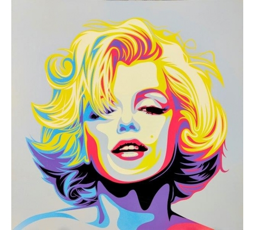 RoseberysRourke Van Dal,  British b. 1969-   Monroe, 2017;   stencil and spray paint on canvas, signed, inscribed, dated, titled and numbered 9/10 on the reverse, 61 x 61cm,  (unframed) (ARR)