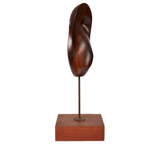 RoseberysAttributed to Bertram Eaton, British 1912-1978-  Curved and rounded form, c 1960s;  rosewood on steel rod with wooden base, total height 70 cm, base 25 x21cm (ARR)