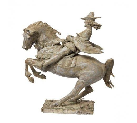 RoseberysJohn Bonar Dunlop ARBS, New Zealander/British 1916-1992-  The Squire, from The Canterbury Tales;  aluminium resin, 32x35x15cm (ARR)  Provenance: the artist's estate