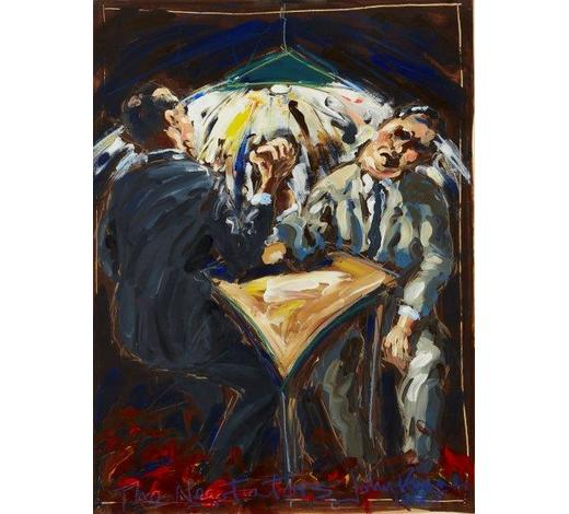 RoseberysJohn Keane, British b.1954-  The Negotiators, 1985;  acrylic on paper, signed, titled and dated, 76x55cm (ARR) (VAT charged on hammer price) Provenance: with Flowers Gallery, London.