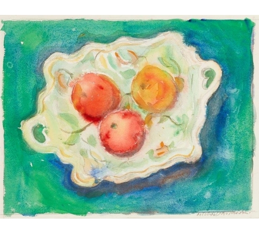 RoseberysMichael Rothenstein RA,  British 1908-1993-   Still life of fruit in a ceramic dish;   watercolour, signed in pencil, 37.2 x 47.5cm, (ARR)   Provenance: with Flowers Gallery, London