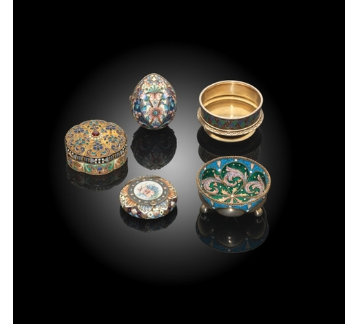 Bonhams EnglandA group of five Russian silver-gilt and enamel works of art Dated variously and bearing marks  (5)