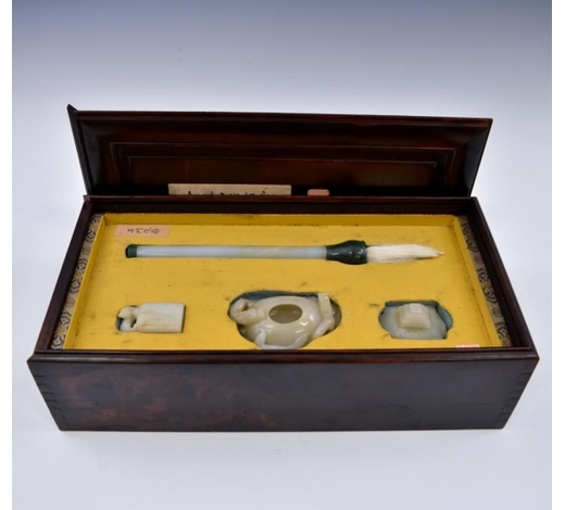 Eden Fine Antiques Galleries LLCSET OF JADE WRITING INSTRUMENT IN BOX