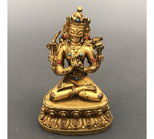 Fox Wood Auctioneer IncChinese Gilt Brone Green Tara Figure Inlaid Gemstones