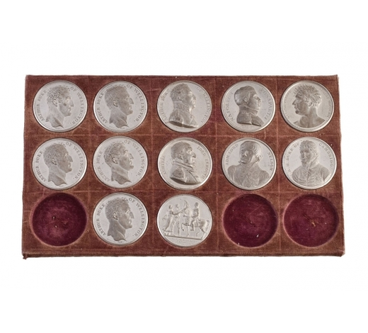 DreweattsBritish Military and Naval Victories, a partial set of twelve white metal medals from Mudie's 1820 s