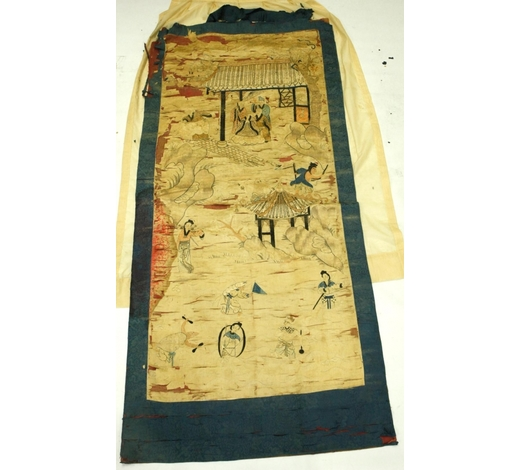Eddie's AuctionChinese Qing Lg Embroidery Lohans & Immortals
