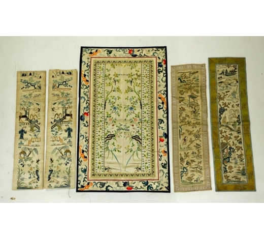 Eddie's Auction5 Chinese Qing Embroidered Sleeve Band Mats