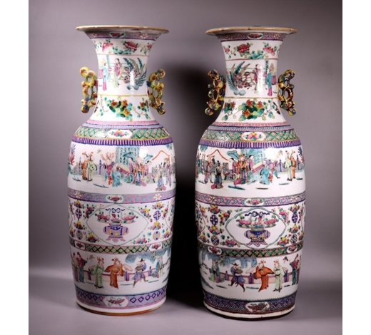 Eddie's AuctionPr Large Chinese Enameled Porcelain Vases