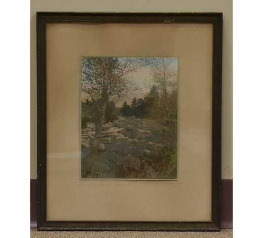 Tenmoku Auctions Inc.A Framed Hand-Colored Photograph of a River