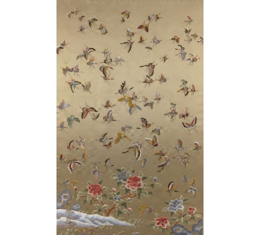 RoseberysA large Chinese silk embroidered '100 butteflies' panel