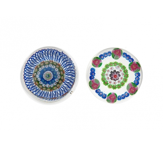 Bonhams EnglandA St. Louis concentric millefiori mushroom paperweight and a Clichy patterned weight, circa 1850
