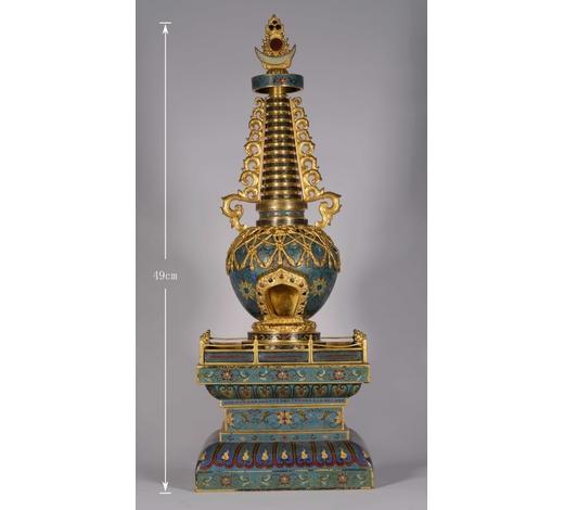 Golden Moment Auctions清代  铜胎掐丝珐琅佛塔