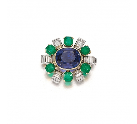 Sotheby's Swiss ConfederationSapphire, emerald and diamond brooch